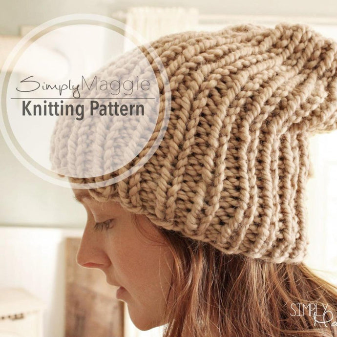 Knitting Pattern | Slouchy Hat | Knit Purl Hat | Rib Stitch Hat | Beginner Pattern | PDF Download | simply maggie