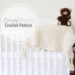"Crochet Ribbed Toddler Blanket Pattern | Baby Blanket | Crochet Pattern | Knit Baby Blanket | 37"" by 52"" 