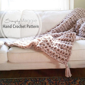 "Crochet Blanket Pattern | Beginner's Pattern | Chunky Throw | Throw Blanket | Crochet blanket | Crochet throw | 53""x46"" 