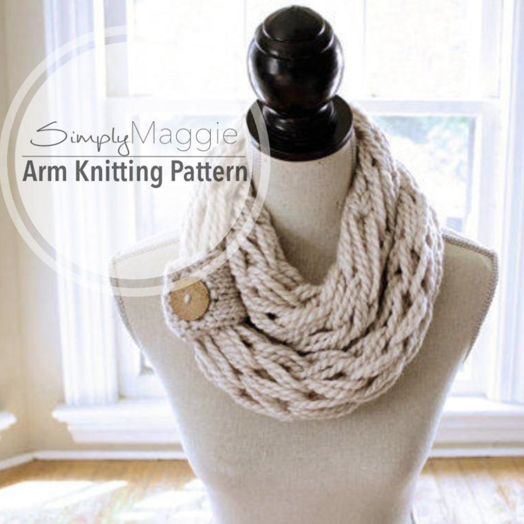 Arm Knitting Pattern | Infinity Scarf | Chunky Scarf | with Button ...