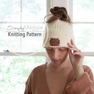 Knitting Pattern | Messy Bun Hat | Ponytail Hat | Messy Bun Beanie | Double Knit Brim Hat | Beginner's Pattern | Simply Maggie