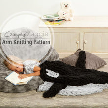 Arm Knitting Pattern | Orca Whale Blanket  | Knit Tail Blanket | Advanced Pattern | Animal Blanket | Child's Blanket | Simply Maggie