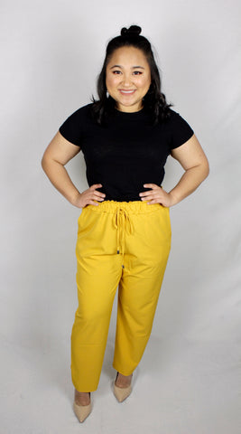 Plus Size Mustard Tapered Pants