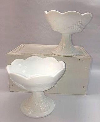 bd35fa9045a Indiana White Milk Glass Colony Harvest Grape Pair of Pedestal Candle  Compote Holders N2
