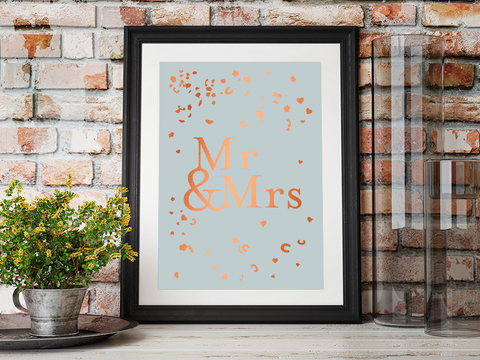 Mrs & Mrs Wedding Confetti A4 Poster with copper foiling Framed