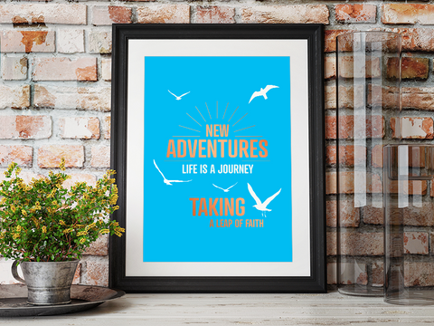 New Adventures A4 Poster with copper foiling framed