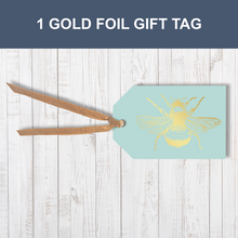 1 Gold foil Honey Bee Traditional Gift Tag With Raffia Ribbon Attached