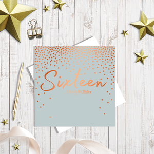 16th Happy Birthday copper foiling greetings card
