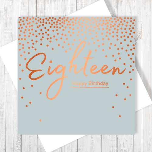 18th Happy Birthday copper foiling greetings card