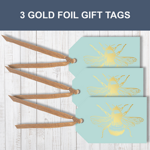 3 Gold foil Honey Bee Traditional Gift Tags With Raffia Ribbon Attached