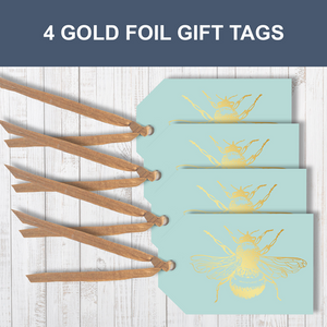 4 Gold foil Honey Bee Traditional Gift Tags With Raffia Ribbon Attached