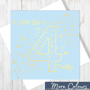 A Little Star Is 4 Today Gold Foiling Pale Blue Birthday Card