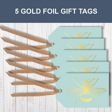 5 Gold foil Honey Bee Traditional Gift Tags With Raffia Ribbon Attached