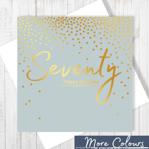 70th Happy Birthday gold foiling greetings card