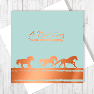 A New Day, The Adventure Begins with Copper Foil Greetings Card by Abigail Bryan