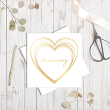 Anniversary Gold Heart with Gold Foil Greetings Card by Abigail Bryan