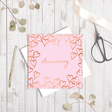 Baby Pink Anniversary Forever Heart with Copper Foil Greetings Card by Abigail Bryan