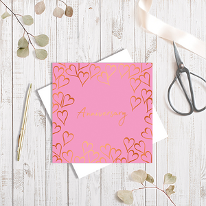 Pink Anniversary Forever Heart with Copper Foil Greetings Card by Abigail Bryan