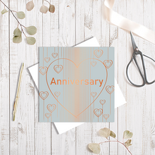 Grey Anniversary Heart Droplets with Copper Foil Greetings Card by Abigail Bryan