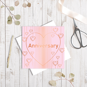 Baby Pink Anniversary Heart Droplets with Copper Foil Greetings Card by Abigail Bryan