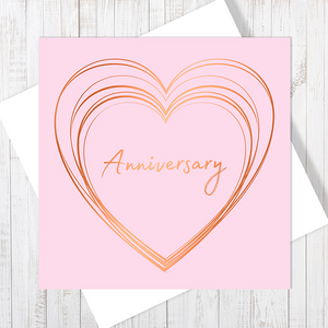 Baby Pink Anniversary Heart with Copper Foil Greetings Card by Abigail Bryan