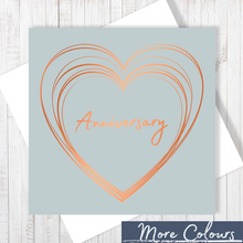 Grey Anniversary Heart with Copper Foil Greetings Card by Abigail Bryan