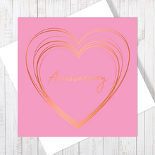 Pink Anniversary Heart with Copper Foil Greetings Card by Abigail Bryan
