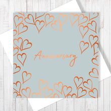 Grey Anniversary Forever Heart with Copper Foil Greetings Card by Abigail Bryan