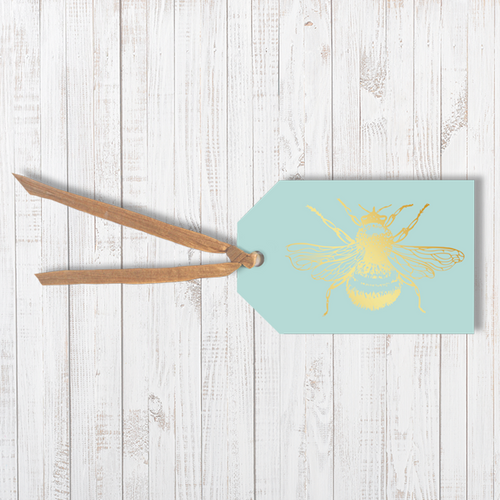 Gold foil Honey Bee Traditional Gift Tag With Raffia Ribbon Attached