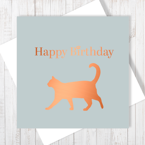 Cat Lovers Happy Birthday Card with Copper Foiling