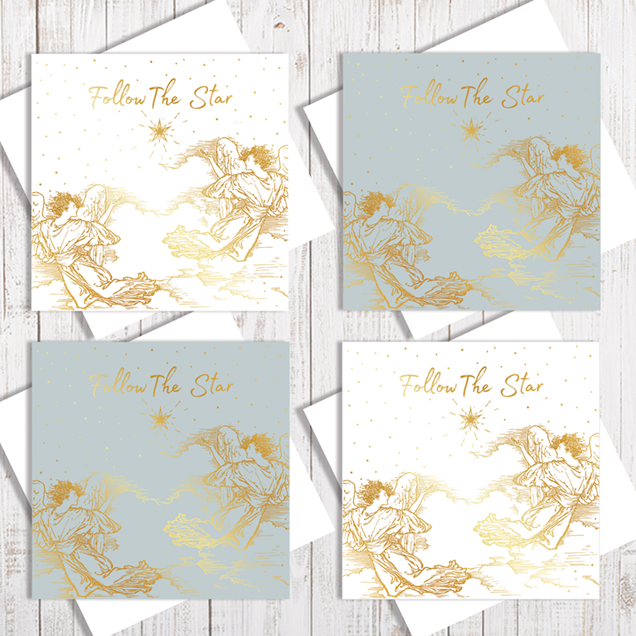 The Christmas Star Christmas Card Pack of 4 cards with gold foiling by Abigail Bryan