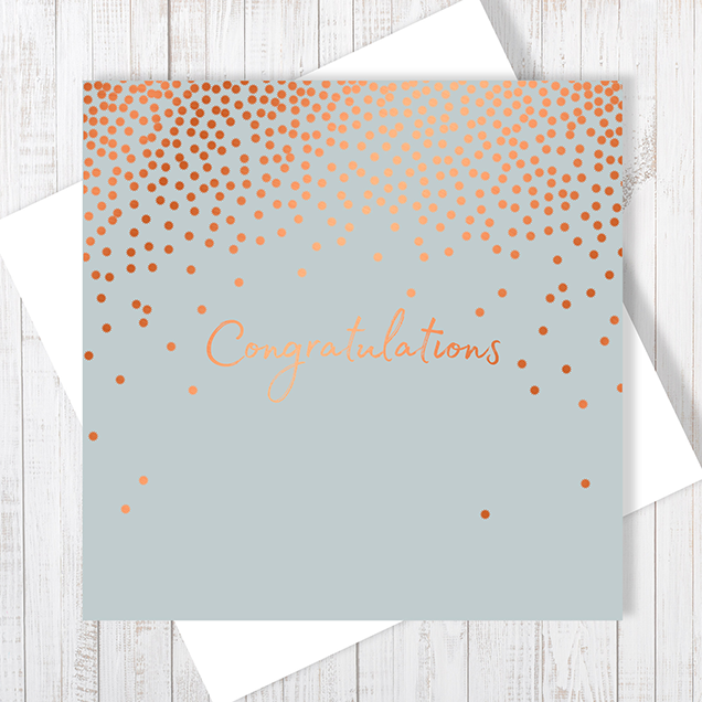Grey Congratulations Stars Copper Foil Greetings Card by Abigail Bryan