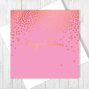 Pink Congratulations Stars Copper Foil Greetings Card by Abigail Bryan