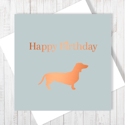 Dog Lovers Happy Birthday Card with Copper Foiling