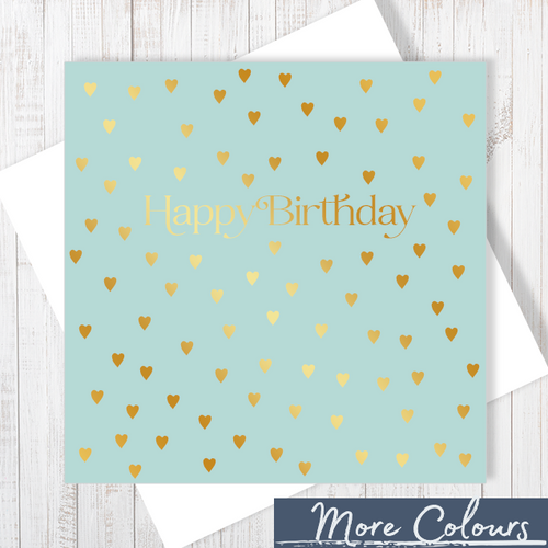 Happy Birthday Gold Hearts Greetings Card