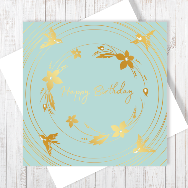 Happy Birthday Gold Bouquet Card