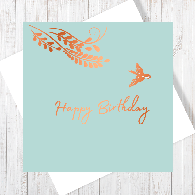 Happy Birthday Little Bird Greetings Card with copper foiling