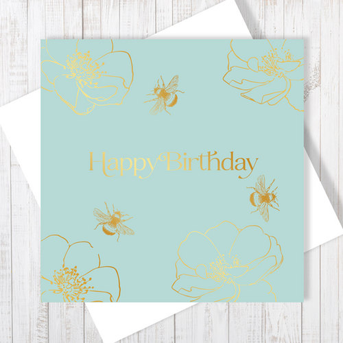 Happy Birthday Gold Honey Bee with Gold Foil Greetings Card by Abigail Bryan