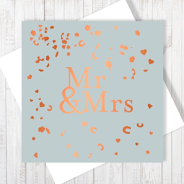 Mr & Mrs Wedding Day Copper Foil Greetings Card by Abigail Bryan