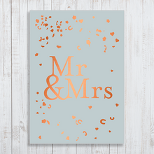 Mrs & Mrs Wedding Confetti A4 Poster with copper foiling