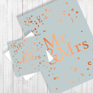Mrs & Mrs Wedding Confetti A4 Poster & greetings card with copper foiling gift set