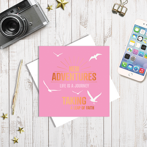 Pink New Adventures with Copper Foil Greetings Card by Abigail Bryan