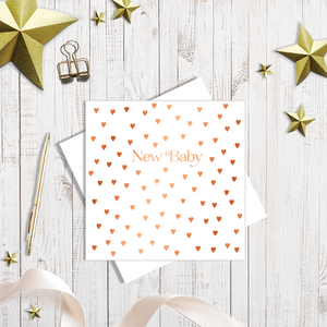 New baby hearts card white with copper foil