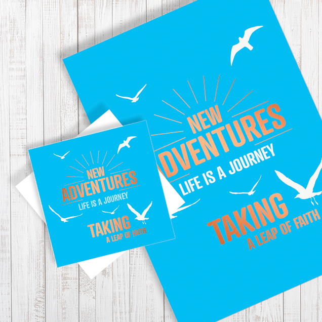 New Adventures with copper foiling A4 Poster & Card gift set