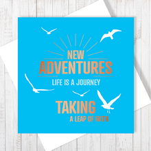 Blue New Adventures with Copper Foil Greetings Card by Abigail Bryan