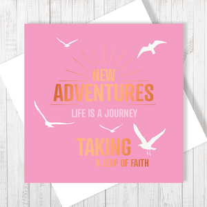New Adventures with Copper Foil Greetings Card by Abigail Bryan
