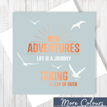 Grey New Adventures with Copper Foil Greetings Card by Abigail Bryan