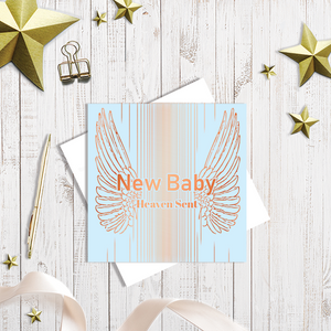 Baby Blue New Baby greetings card with copper foiling by Abigail Bryan