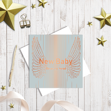Grey New Baby greetings card with copper foiling by Abigail Bryan