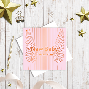 Baby Pink New Baby greetings card with copper foiling by Abigail Bryan
